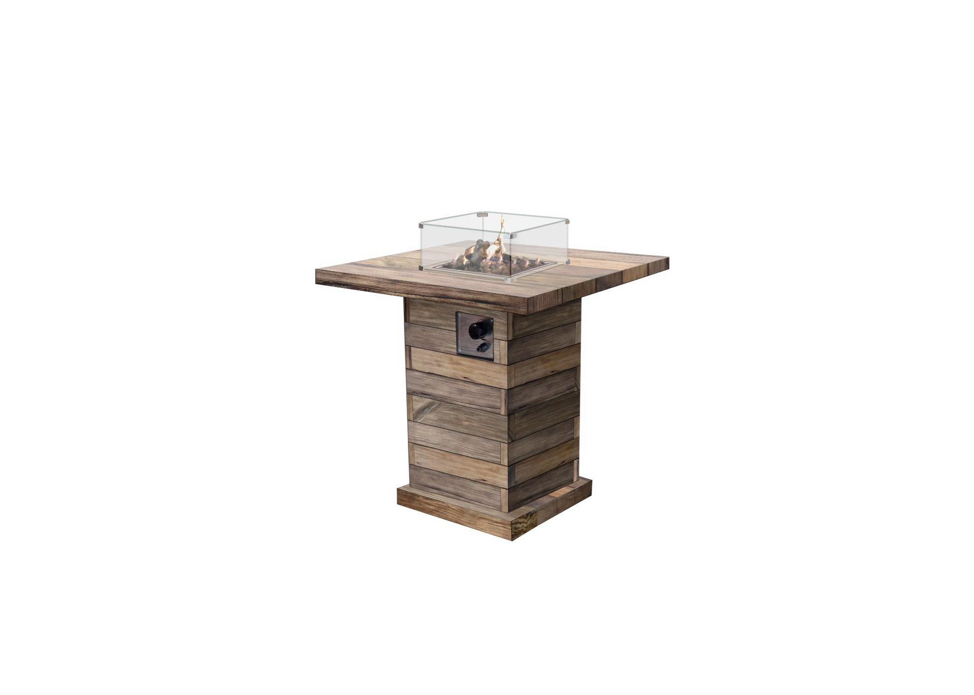Gas Feuerstelle im Holz Design